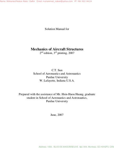 Mechanics Of Aircraft Structures Solution Manual C T Sun