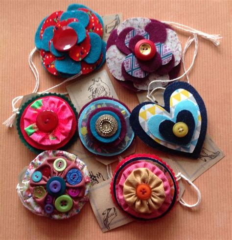 Handmade Fabric Brooches - 17 best images about fabric brooches on