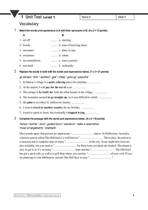 Unit 1 - Test 1 (vocabulary and grammar)