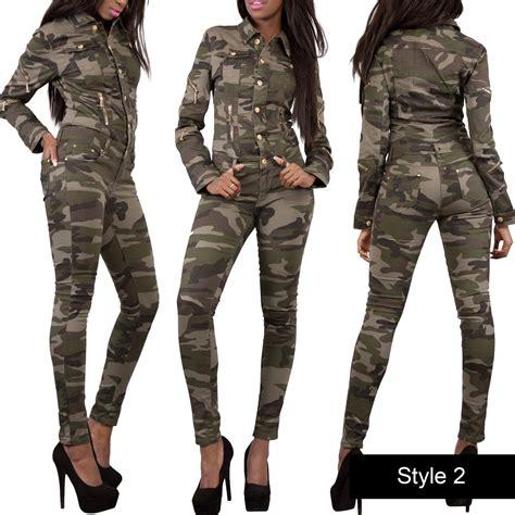 Jumpsuit Armi Army womens camouflage army print jumpsuit denim catsuit jean size 6 14 ebay