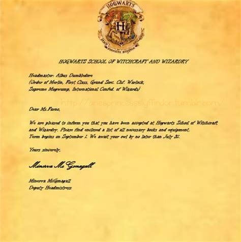Harry Potter Lost Acceptance Letter My Hogwarts Acceptance Letter By Ariesprincessslyffin On