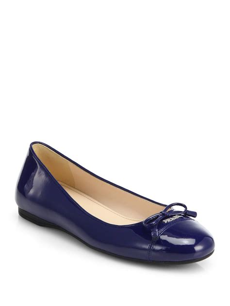 bow shoes flats prada patent leather bow ballet flats in blue lyst