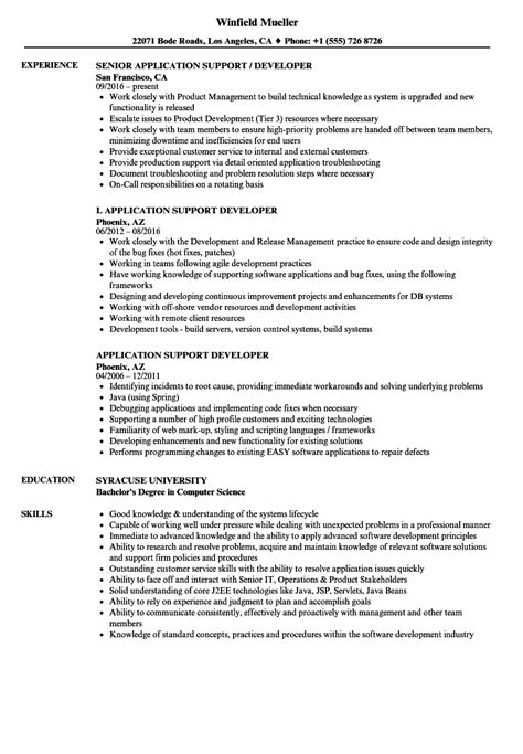 application support developer resume sles velvet