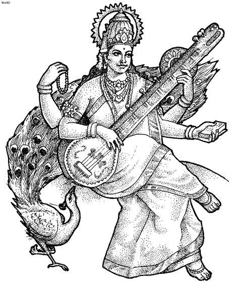 maa saraswati sketch clipart best