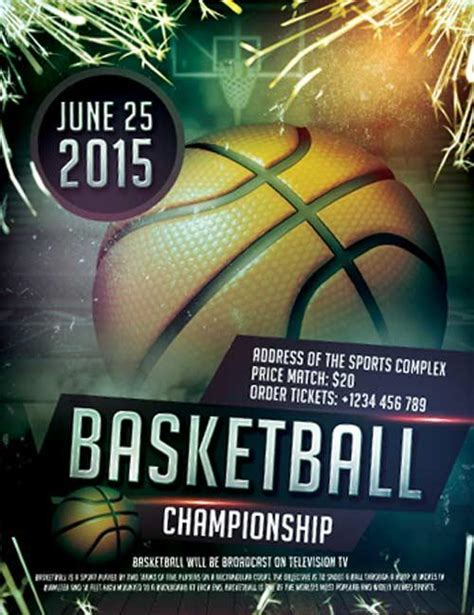 20 Attractive Free Sports Flyer Templates Utemplates Free Basketball Photoshop Templates
