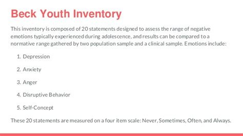 beck youth inventory sle report emotional health and foster care adolescents