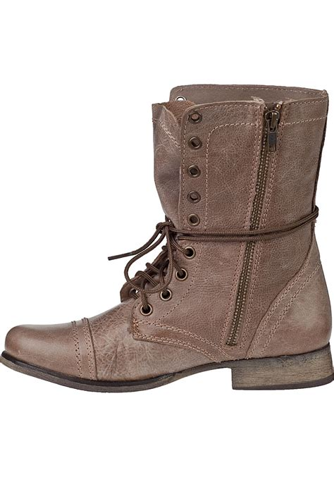 steve madden troopa lace up boot leather in brown lyst