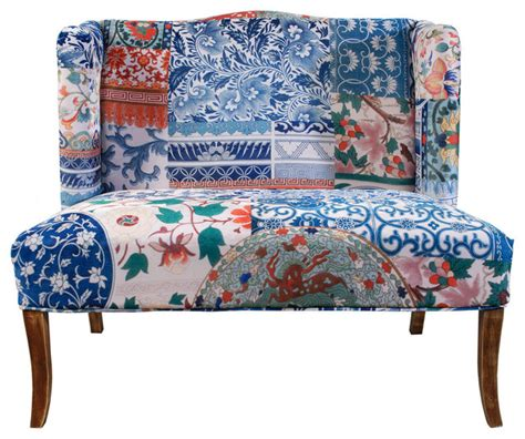 floral bench upholstery love seat bench floral eclectic accent and
