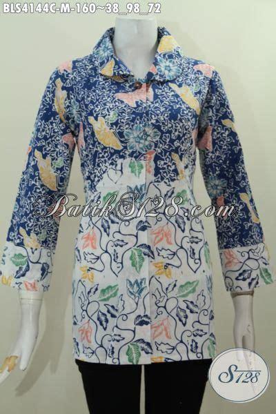 Blus Tenun Kombinasi 2in1 Biru baju blus istimewa kombinasi warna biru dan putih busana