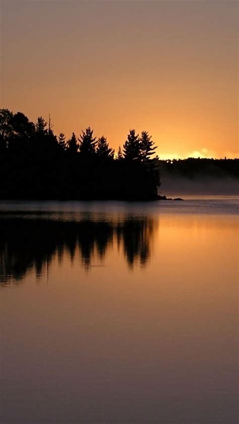 sunset lake mist smartphone wallpapers hd getphotos