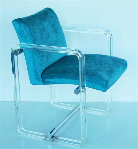 Turquoise Dining Chairs Six Turquoise Lucite And Chrome Dining Chairs 1970s At 1stdibs