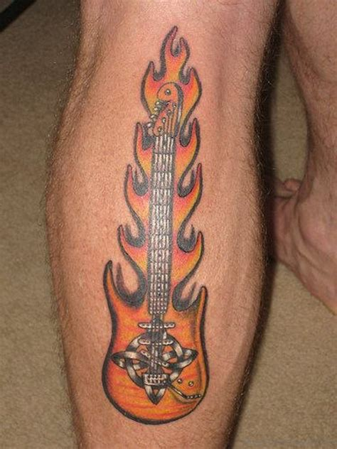 guitar neck tattoo designs 40 cool guitar tattoos on leg
