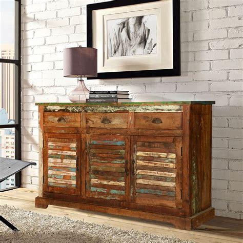 Wood Sideboard rustic reclaimed wood 3 drawer sideboard