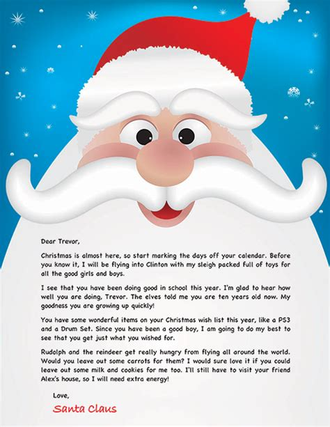 Santa Letter Exle Personalized Letters From Santa Custom Letter From Santa Template