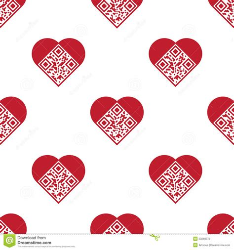 heart shaped pattern code love qr code seamless pattern stock photography image