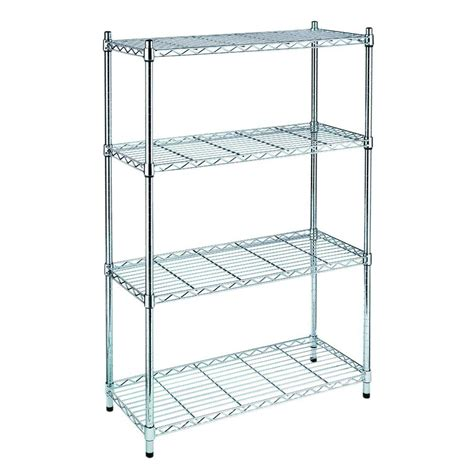 hdx wire shelving hdx 4 shelf 54 in h x 36 in w x 14 in d wire unit in chrome grey price tracking