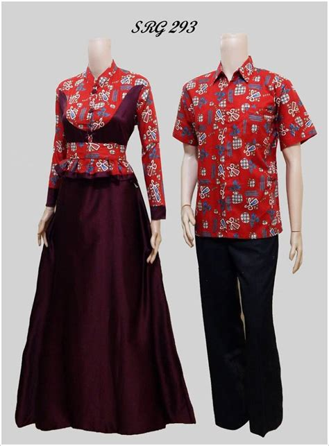 Baju Panjang Sepasang jual baju batik sarimbit gamis sepasang pasangan seragam srg293 griya sarimbit