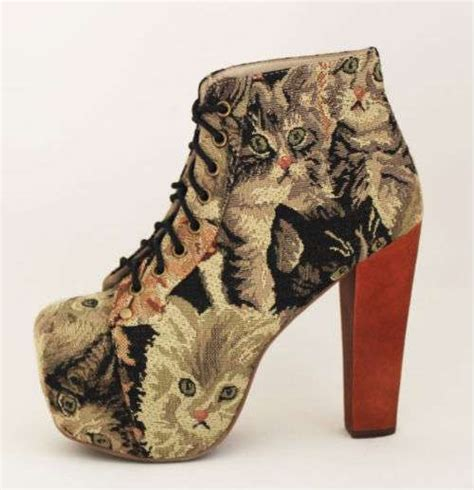 kittens shoes fierce feline footwear jeffrey cbell lita cat tapestry
