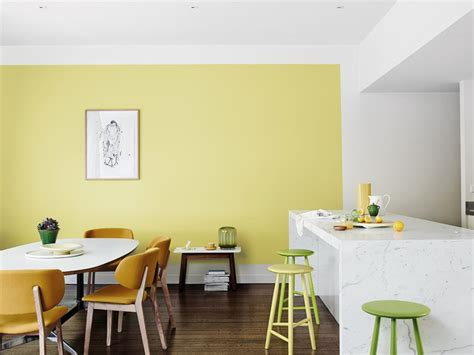 modern dining room  yellow feature wall inspirations