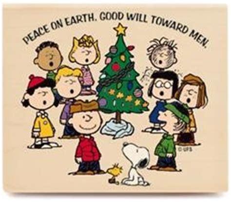 peanuts gang caroling rubber stamp christmas singing snoopy charlie brown linus