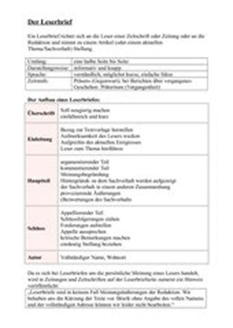 Leserbrief Schreiben Muster 4teachers Lehrproben Unterrichtsentw 252 Rfe Und Unterrichtsmaterial F 252 R Lehrer Und Referendare