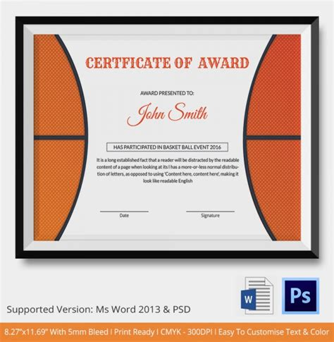 basketball certificate templates basketball certificate template 14 free word pdf psd