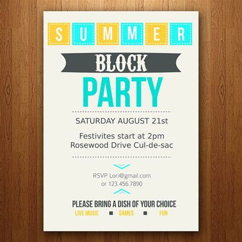 block invitation template customizable summer invitation block pool bbq etc