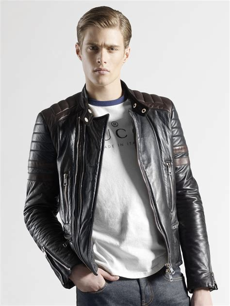 Guc Ci Leather lyst gucci leather biker jacket in black for