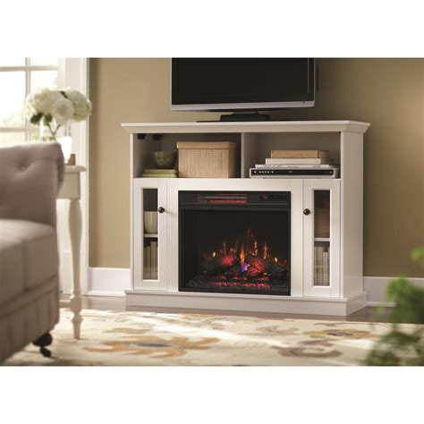 white electric fireplace media console home decorators collection charles mill 46 in convertible media console electric fireplace in
