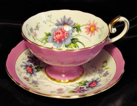 Tea Cup Cabinet by Crown Staffordshire Cabinet Tea Cup Saucer Posh Pink