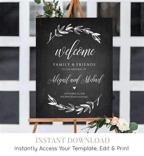Wedding Welcome Sign Template Chalkboard Wedding Poster Printable Rustic Laurels 100 Welcome To The Wedding Of Template