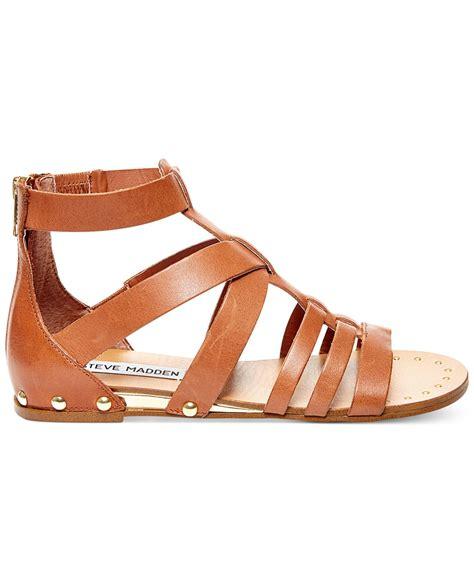 steve madden gladiator sandals steve madden drastik leather gladiator sandals in brown lyst