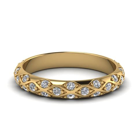 Wedding Bands Yellow Gold With Diamonds by Pave Curved Womens Wedding Band In 14k Yellow Gold