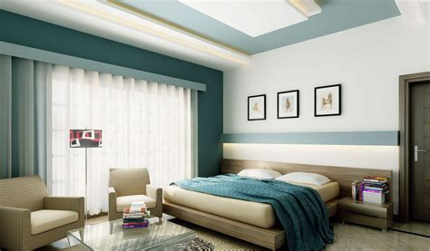 unique design bedroom interior feature walls blue white