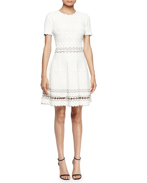 white knit dress mcqueen stretch pointelle knit dress in white lyst