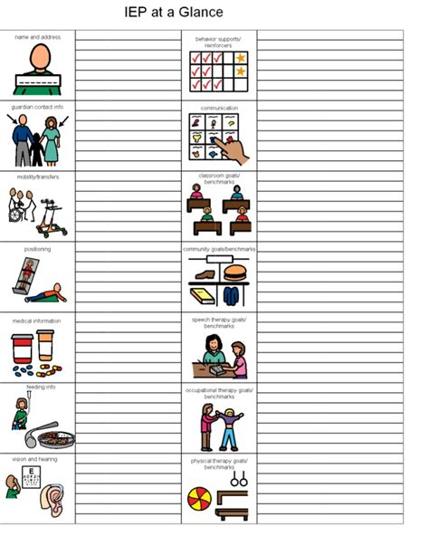 iep at a glance template iep at a glance