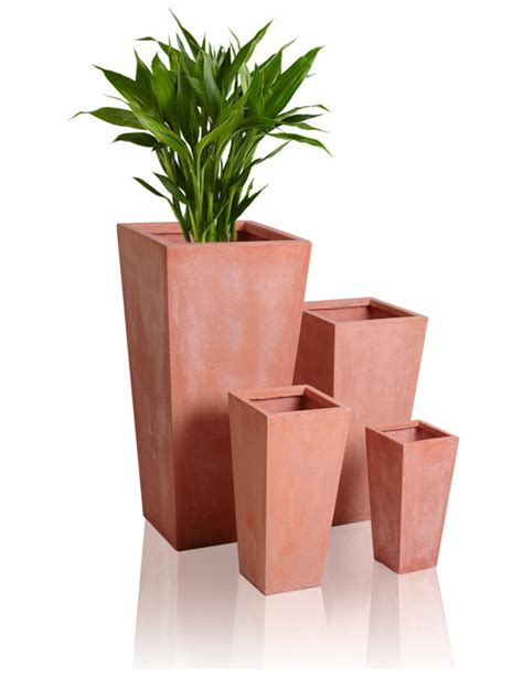 Square Terracotta Planters by Terracotta Fibrecotta Flared Square Planter H51cm X