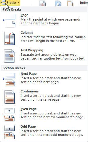 word layout break sections headers and footers page numbers margins