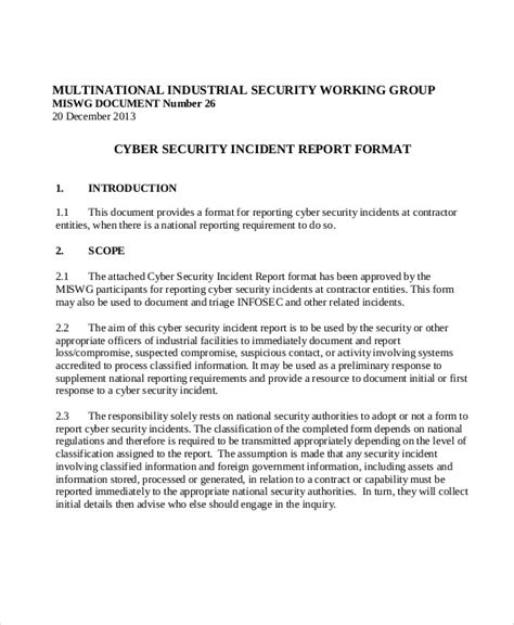 Incident Report Exle Security Sle Security Incident Report 13 Exles In Pdf Word