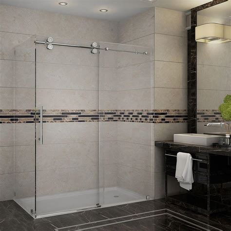 Frameless Shower Doors Prices Aston Langham 60 In X 33 8125 In X 75 In Completely Frameless Shower Enclosure In Stainless