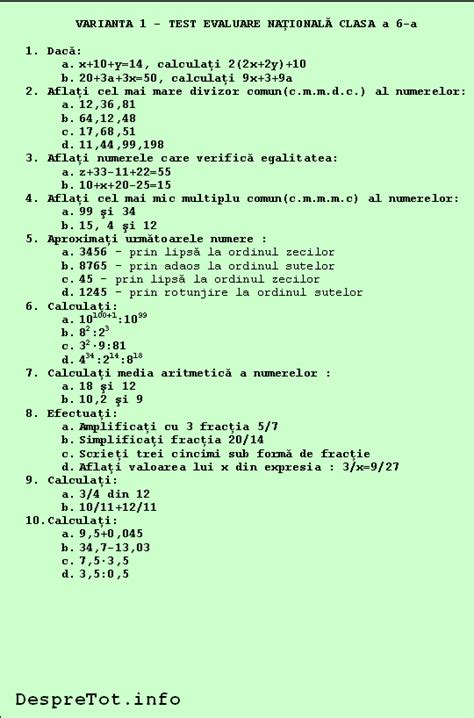 test matematica teste matematic艫 evaluare na螢ional艫 clasa a 6 a