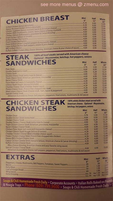 menu of the original steak and hoagie restaurant