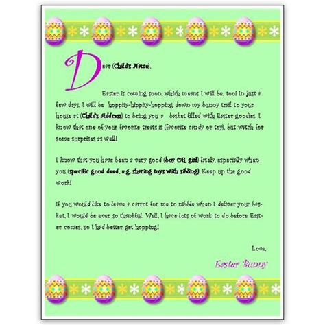 free printable letters easter bunny free letter from easter bunny template