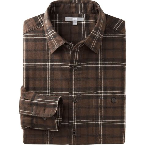 Flannel Uniqlo 11 uniqlo flannel check sleeve shirt in brown for lyst