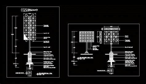 steel structure billboard dwg block  autocad