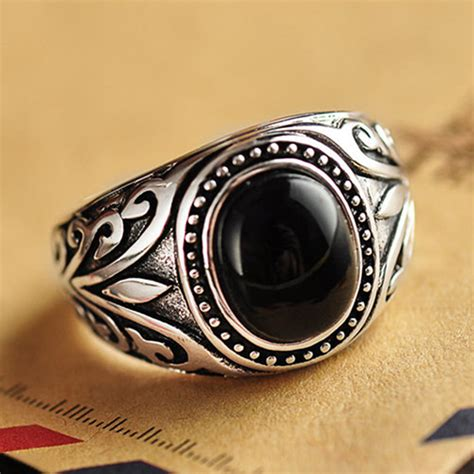 mens silver ring with black s sterling silver black onyx ring jewelry1000