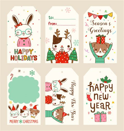 set  merry christmas  happy  year gift tags  flat style vector premium