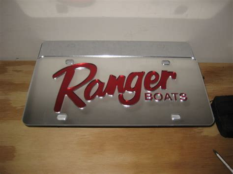 ranger boats license plate ranger boats license plate chrome red acrylic inlay ebay