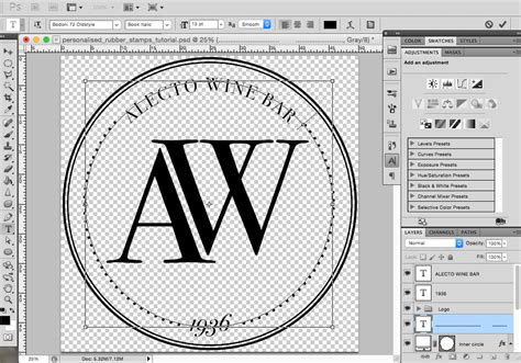 photoshop tutorial round logo create personalised rubber sts in photoshop