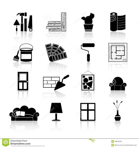Free House Plan Designer by Interior Design Icons Black Stock Vector Image 49819403